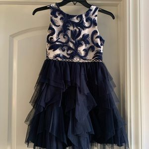 Rare Editions Navy & Cream Tulle Dress, size 8